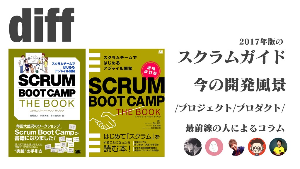 diff スクラムガイド /プロジェクト/プロダクト/ 今の開発⾵景 2017年版の 最前線の...