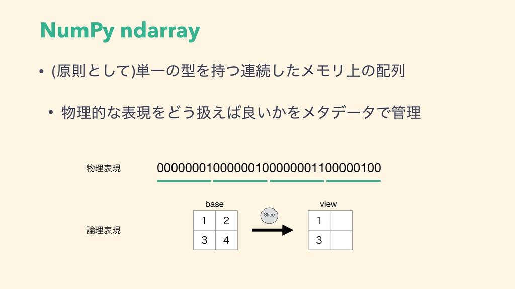 NumPy ndarray • (ݪଇͱͯ͠)୯ҰͷܕΛͭ࿈ଓͨ͠ϝϞϦ্ͷྻ • ཧత...