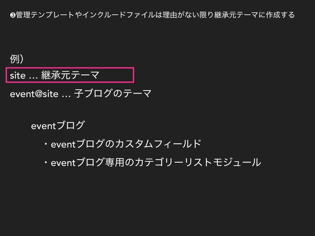 ྫʣ site … ܧঝݩςʔϚ event@site … ࢠϒϩάͷςʔϚ eventϒϩά...