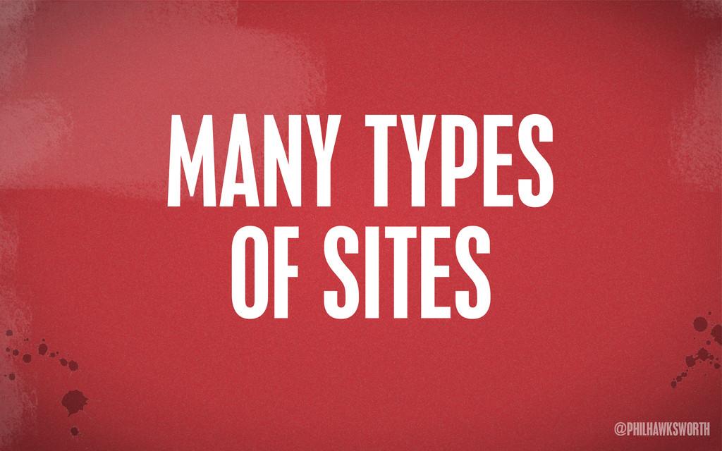 >< {}\ stu @PHILHAWKSWORTH MANY TYPES OF SITES