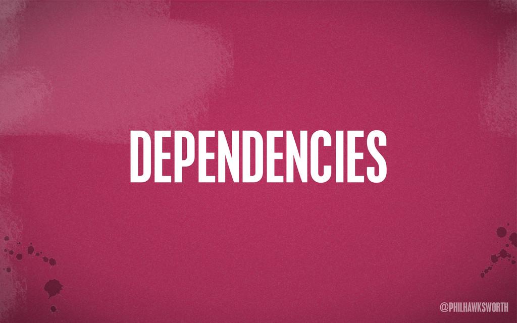 >< {}\ stu @PHILHAWKSWORTH DEPENDENCIES