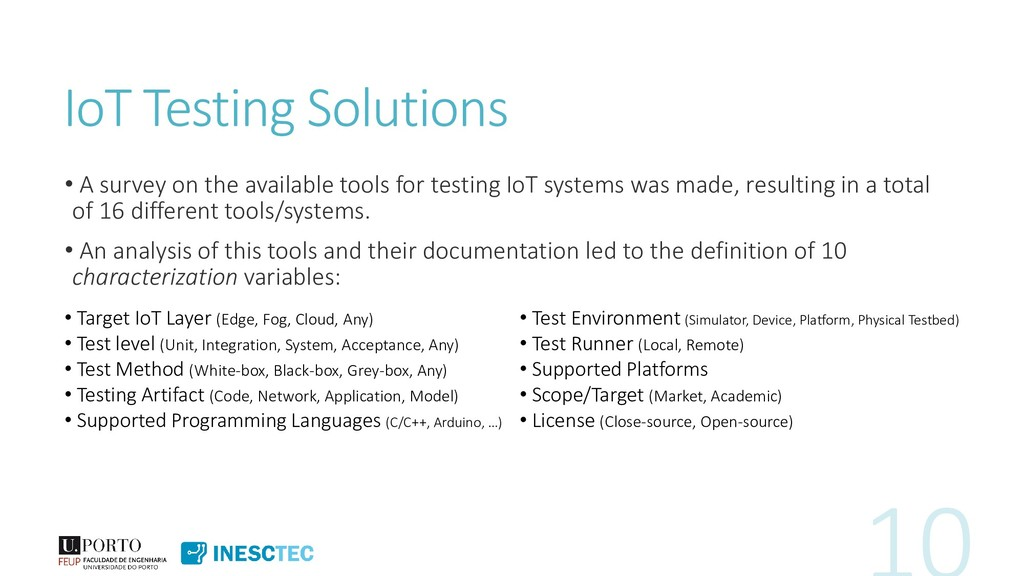 IoT Testing Solutions • A survey on the availab...