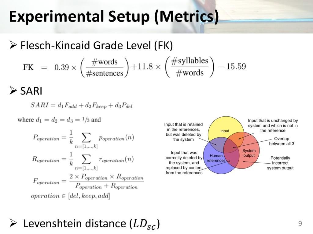 Experimental Setup (Metrics) Ø Flesch-Kincaid G...