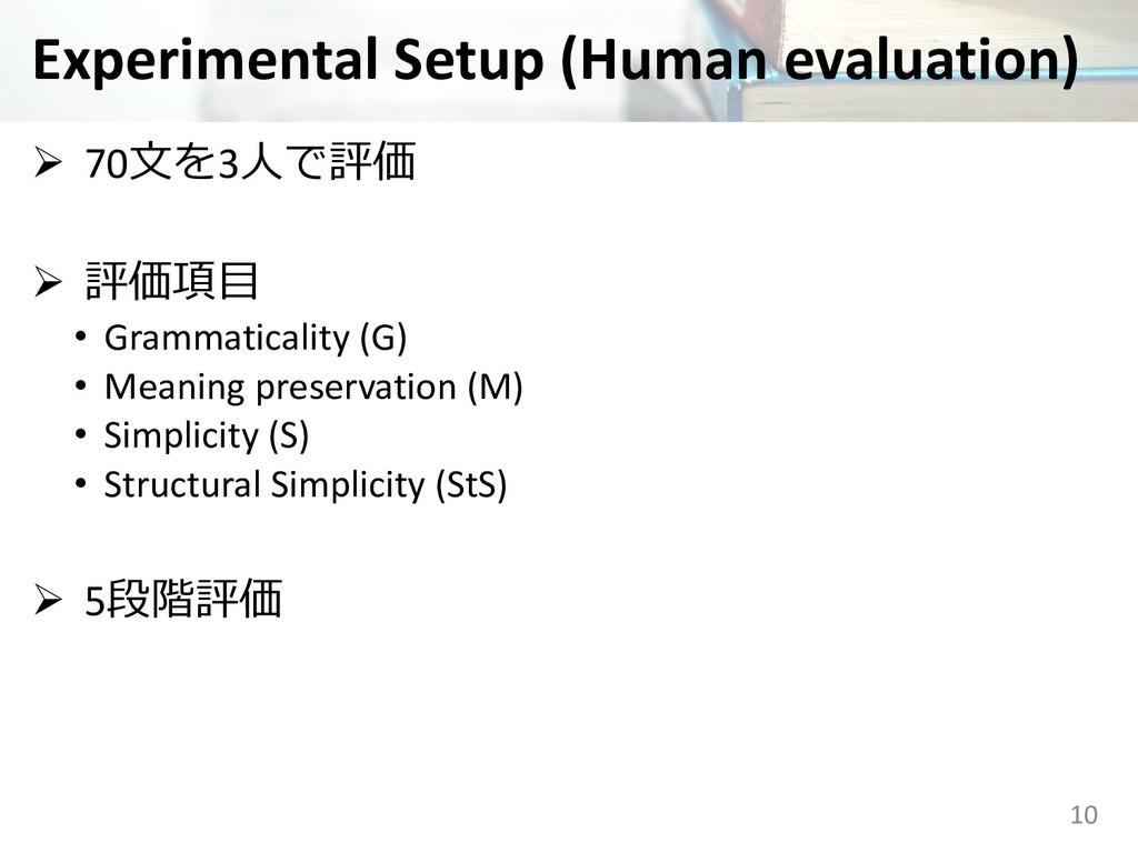 Experimental Setup (Human evaluation) Ø 703...