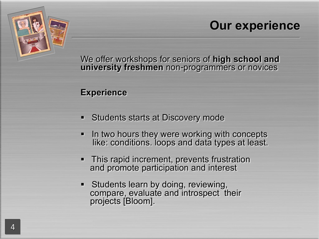 We offer workshops for seniors of high school a...