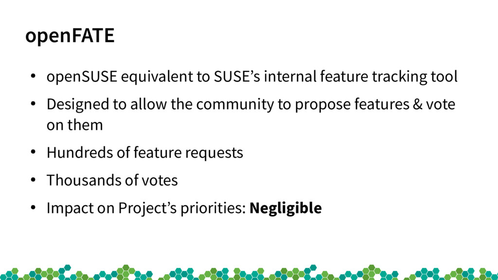 openFATE ● openSUSE equivalent to SUSE's intern...