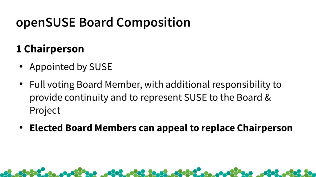 openSUSE Board Composition 1 Chairperson ● Appo...