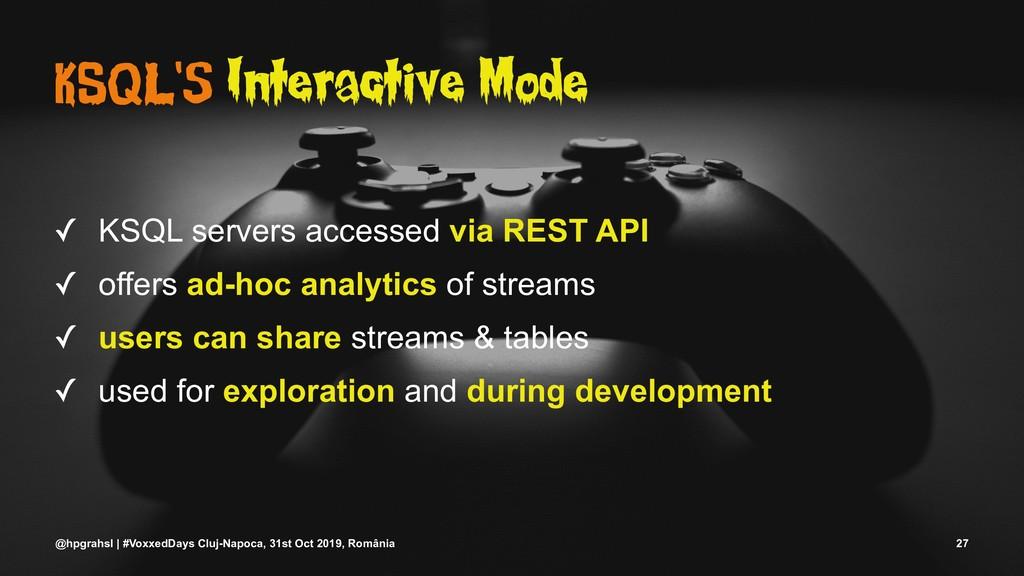 KSQL's Interactive Mode ✓ KSQL servers accessed...