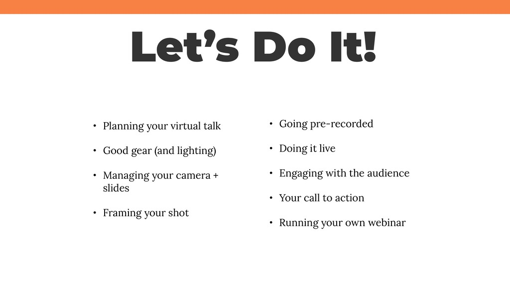 @jcasabona Let's Do It! • Planning your virtual...