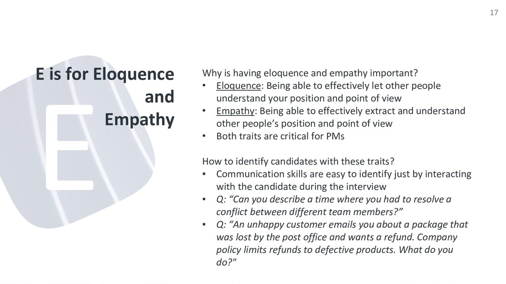 E is for Eloquence and Empathy Why is having el...