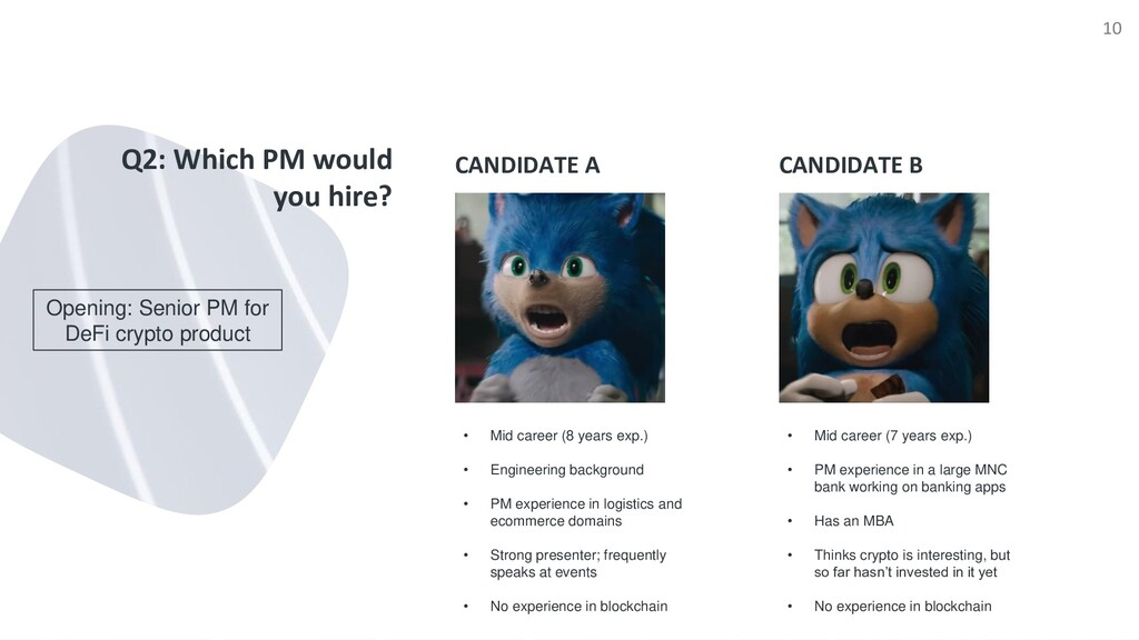 CANDIDATE A Q2: Which PM would you hire? CANDID...