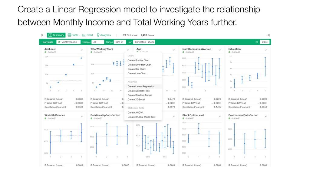 Create a Linear Regression model to investigate...