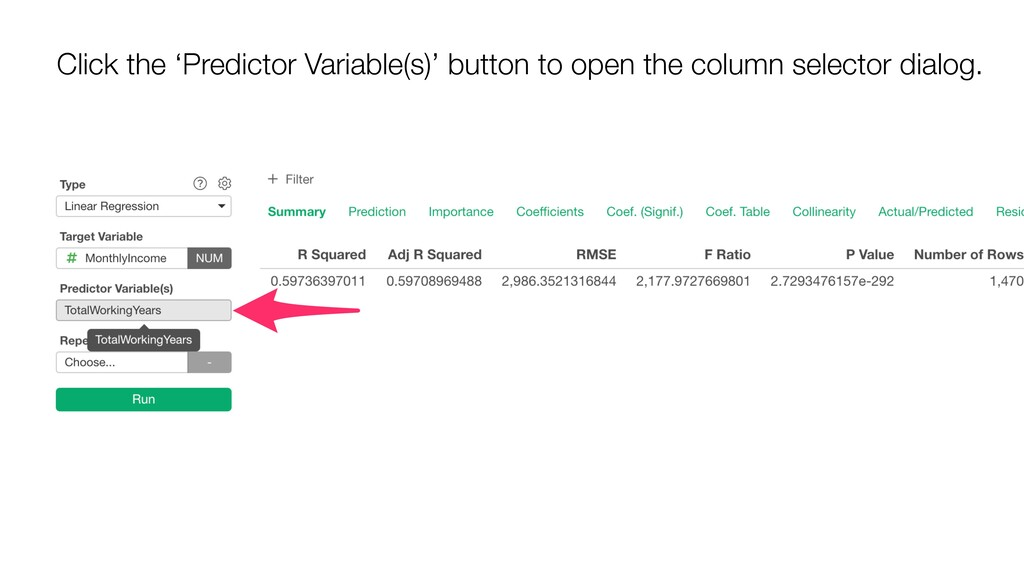 Click the 'Predictor Variable(s)' button to ope...