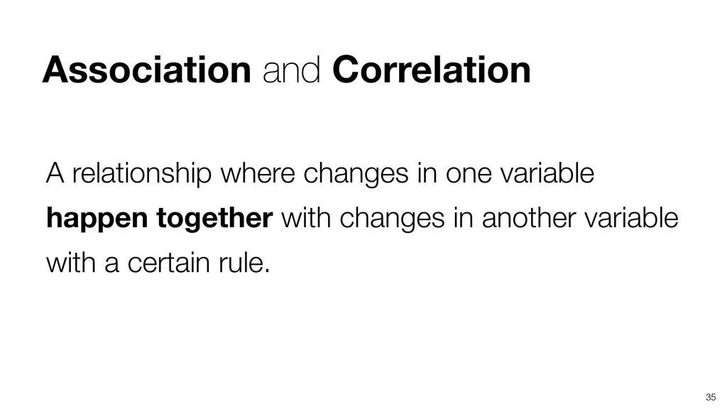 35 A relationship where changes in one variable...