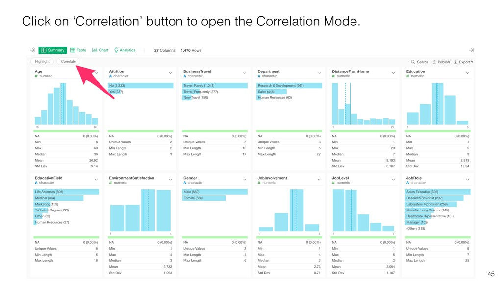 45 Click on 'Correlation' button to open the Co...