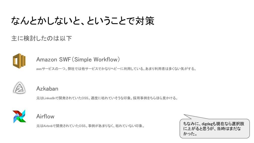 なんとかしないと、ということで対策 主に検討したのは以下 Amazon SWF(Simple ...