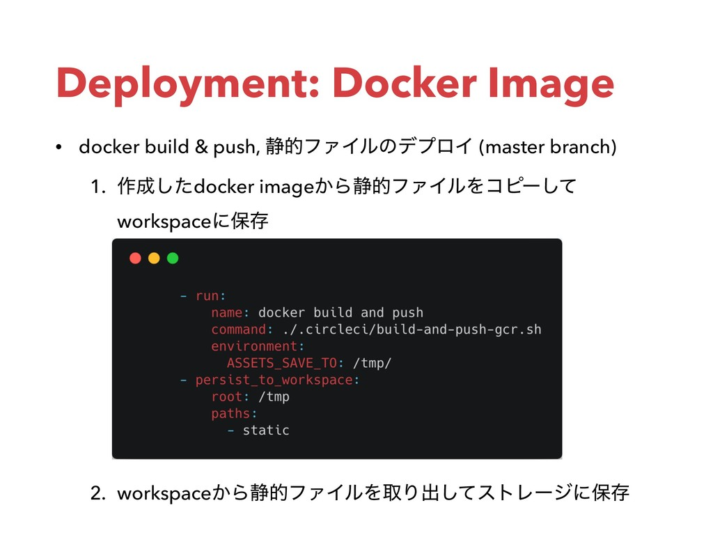 Deployment: Docker Image • docker build & push,...