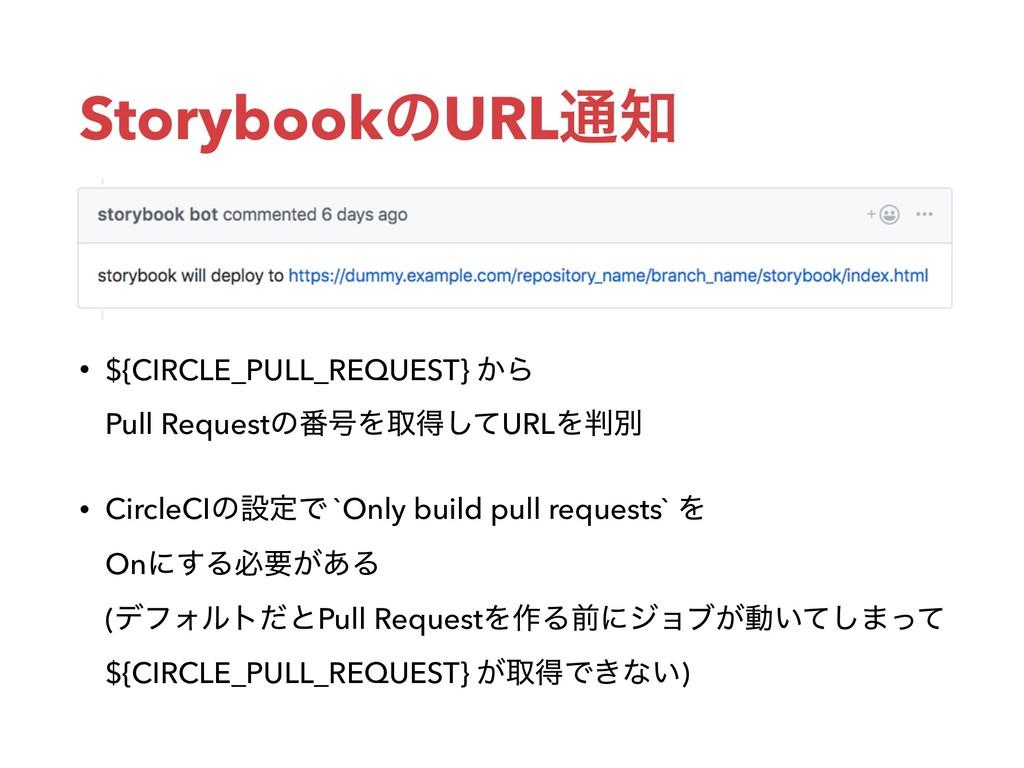 StorybookͷURL௨ • ${CIRCLE_PULL_REQUEST} ͔Β Pu...