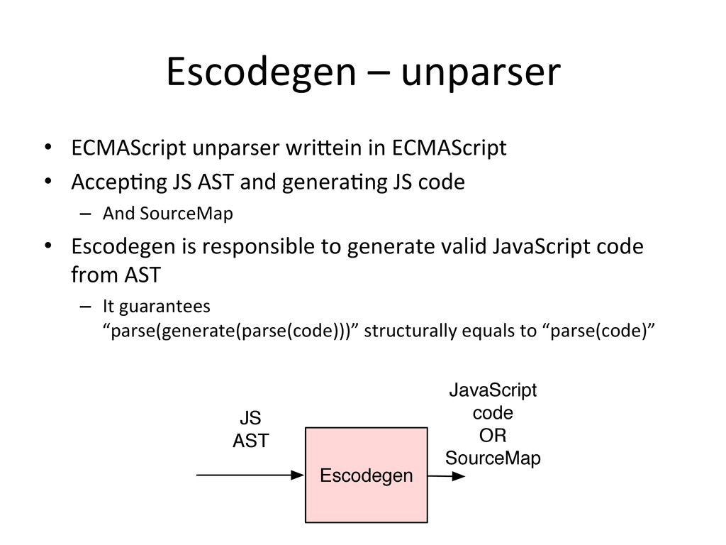 Escodegen – unparser • ECMAScript u...