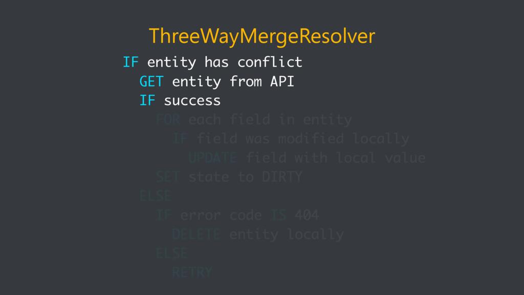 ThreeWayMergeResolver IF entity has conflict GE...