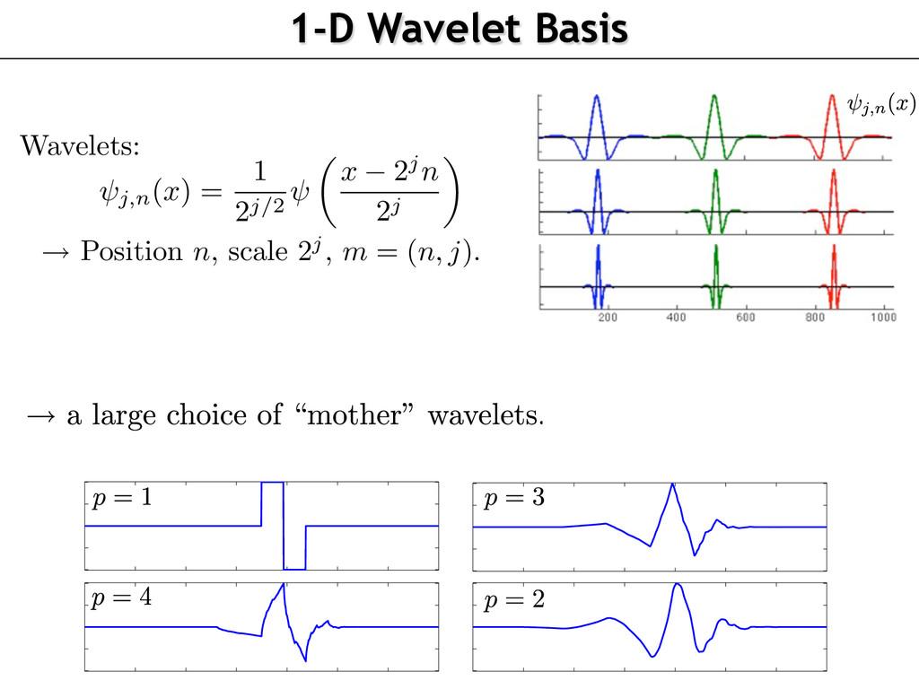 1-D Wavelet Basis Wavelets: j,n (x) = 1 2j/2 x ...