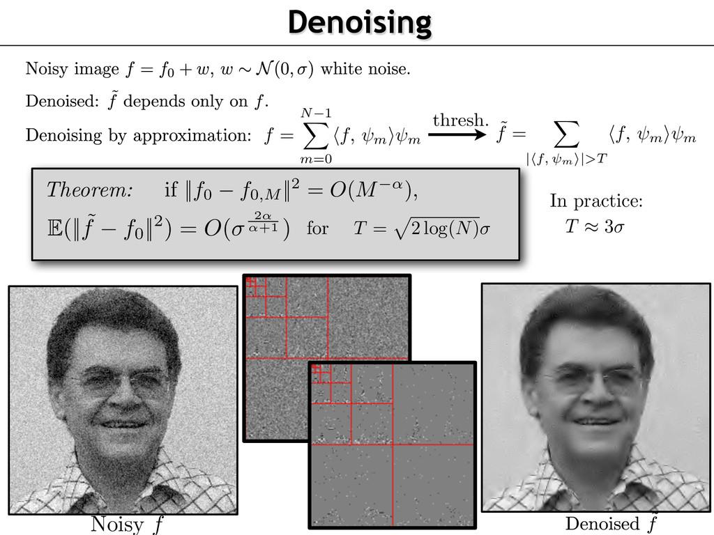 Noisy f Denoising thresh. f = N 1 m=0 f, m ⇥ m ...