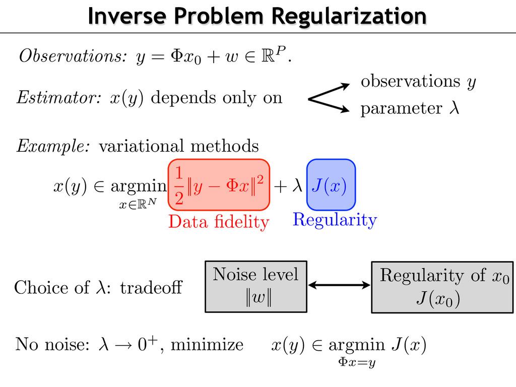J ( x0) Regularity of x0 x ( y ) 2 argmin x = y...