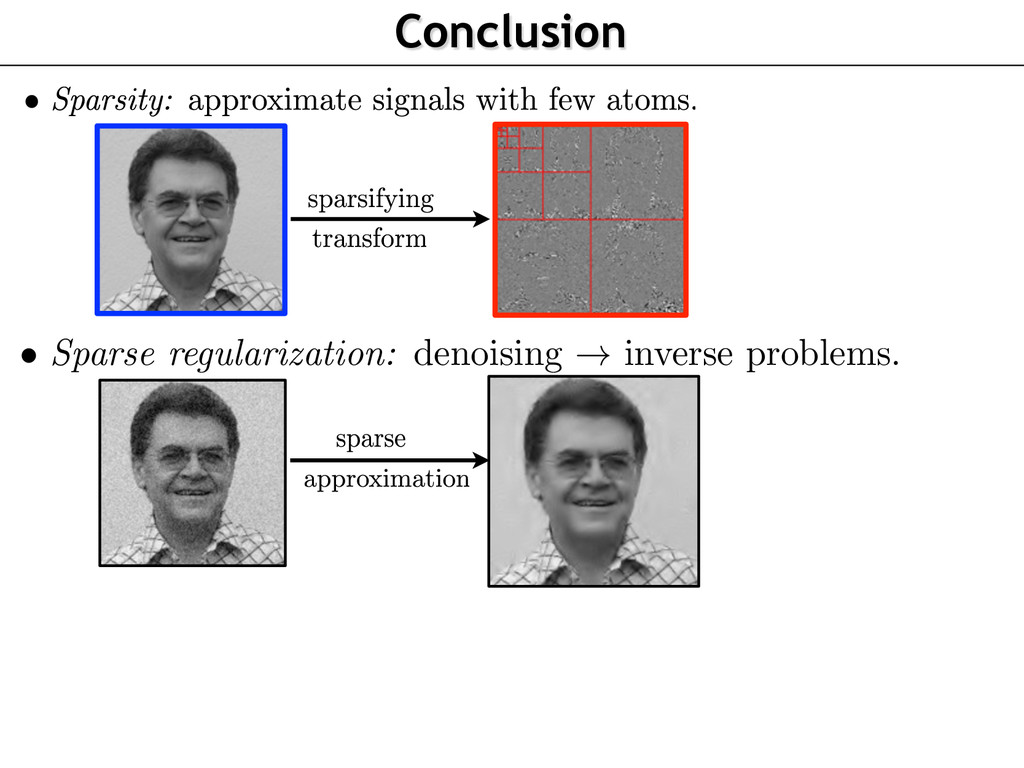 Conclusion • Sparse regularization: denoising !...