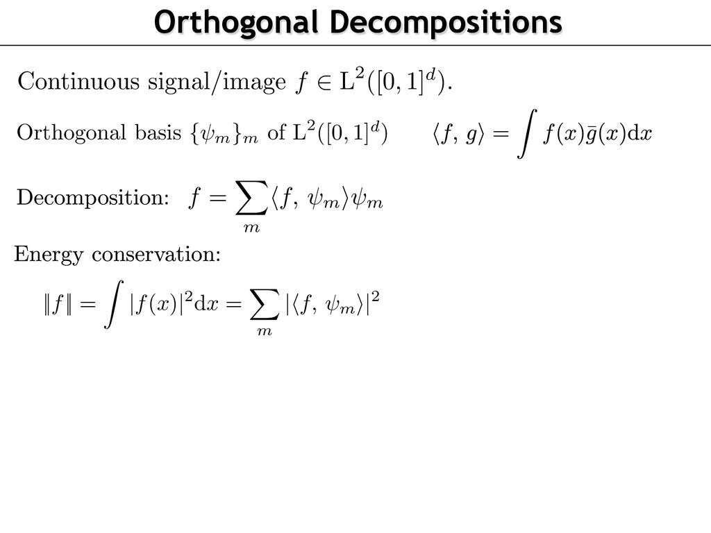 Orthogonal basis { m }m of L2([0, 1]d) f = m f,...