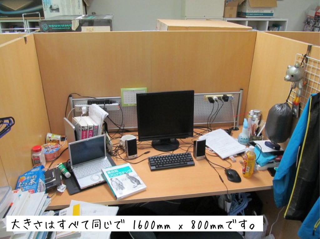 大きさはすべて同じで 1600mm x 800mmです。