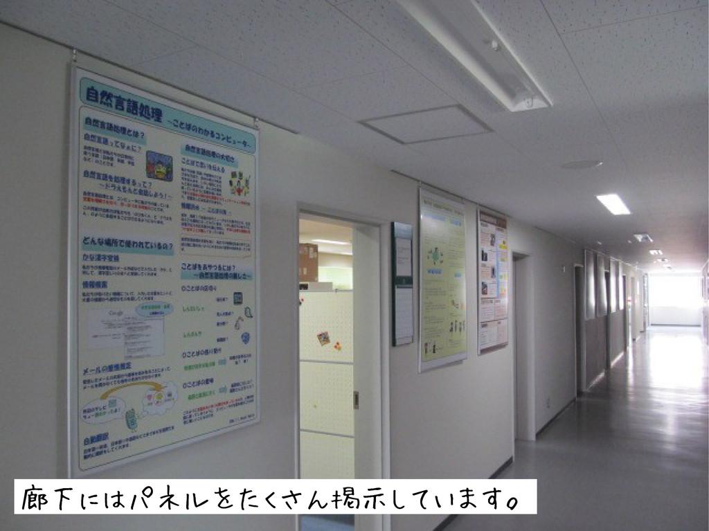廊下にはパネルをたくさん掲示しています。