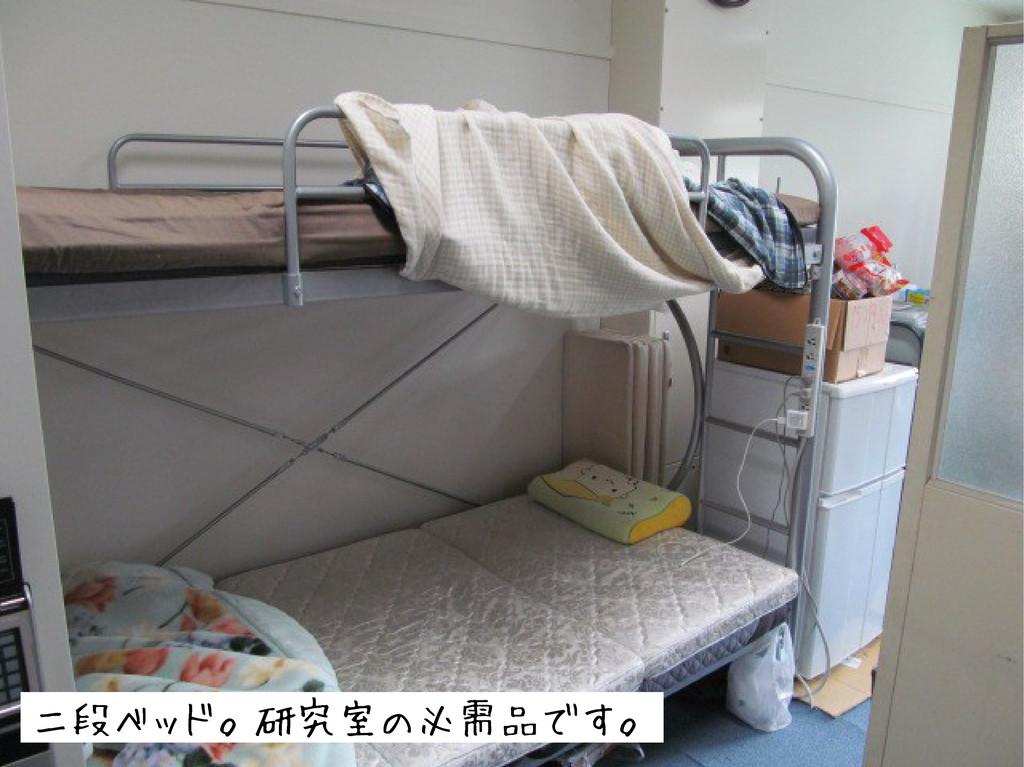 二段ベッド。研究室の必需品です。