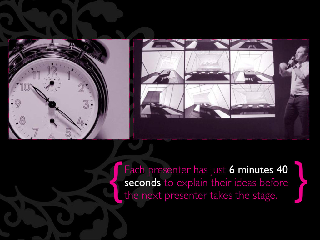 { } Each presenter has just 6 minutes 40 second...