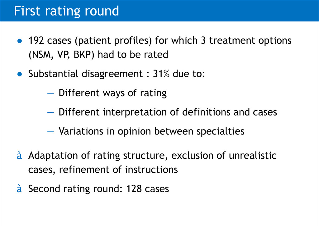First rating round ● 192 cases (patient profile...