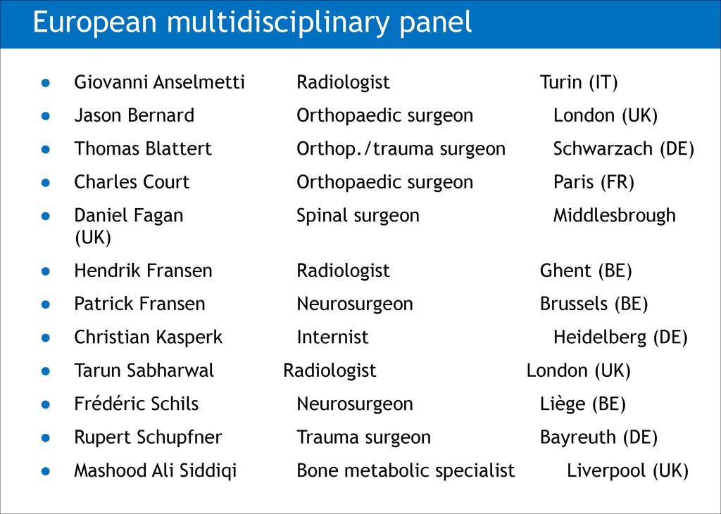 European multidisciplinary panel ● Giovanni Ans...