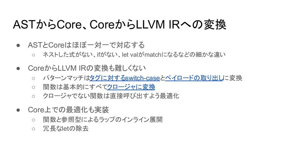 ASTからCore、CoreからLLVM IRへの変換 ● ASTとCoreはほぼ一対一で対応...