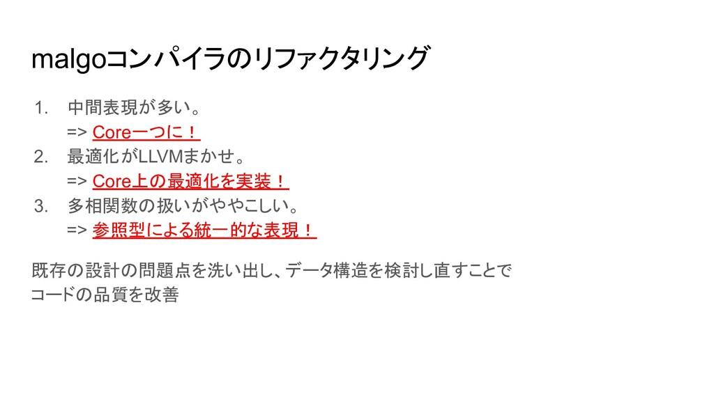 malgoコンパイラのリファクタリング 1. 中間表現が多い。 => Core一つに! 2. ...