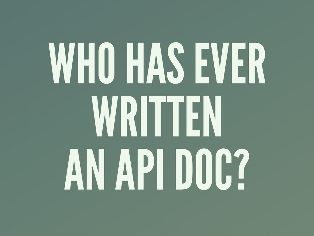 WHO HAS EVER WRITTEN AN API DOC?