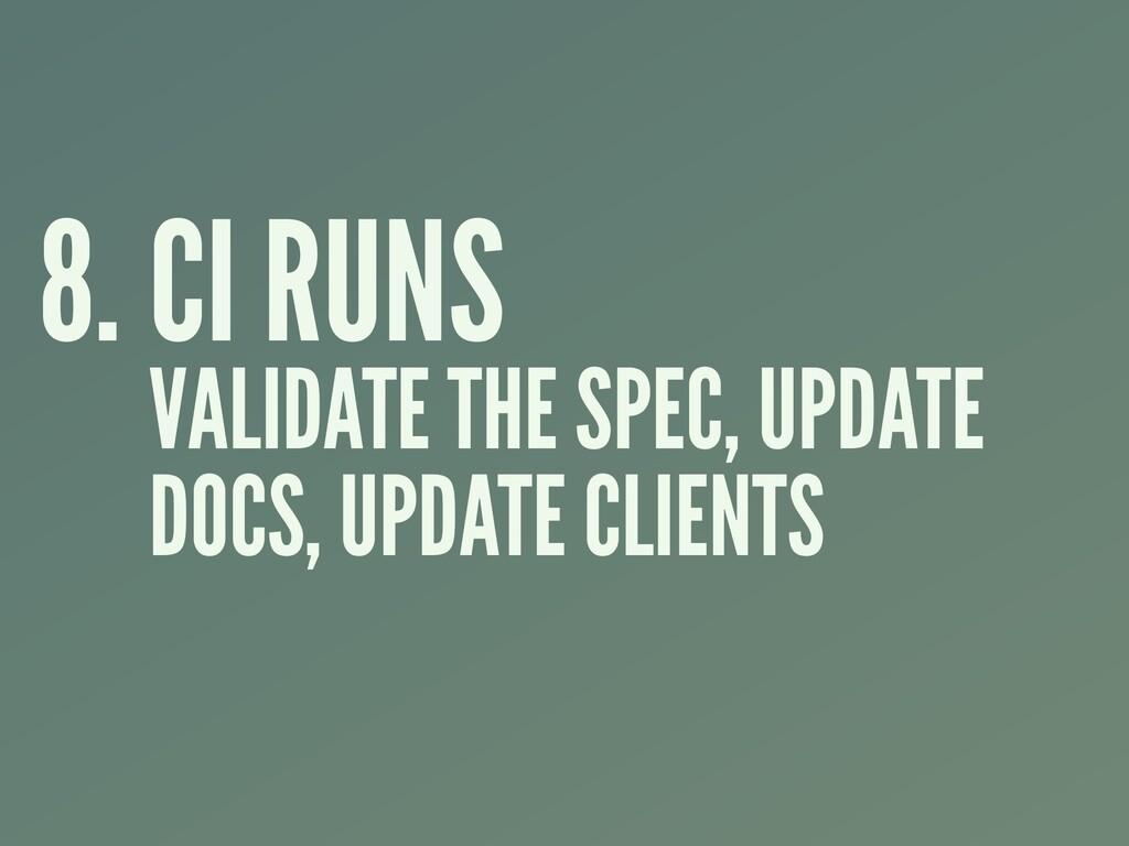 8. CI RUNS VALIDATE THE SPEC, UPDATE DOCS, UPDA...