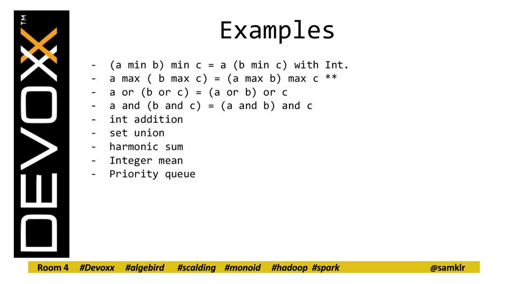 Examples - (a min b) min c = a (b min c) with I...