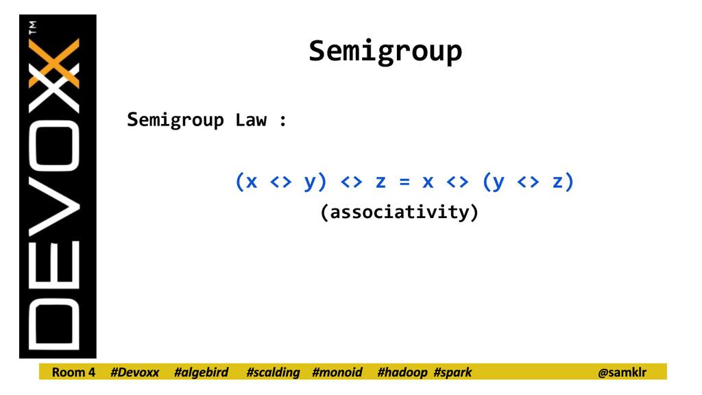 Semigroup Semigroup Law : (x <> y) <> z = x <> ...