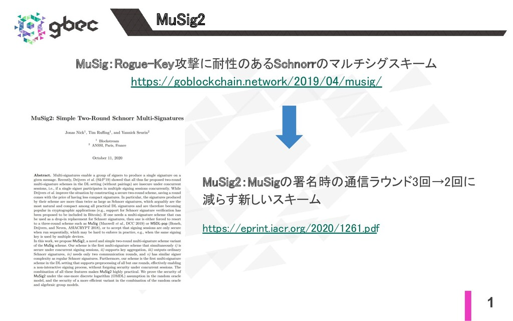 1 MuSig2 MuSig:Rogue-Key攻撃に耐性のあるSchnorrのマルチシグス...