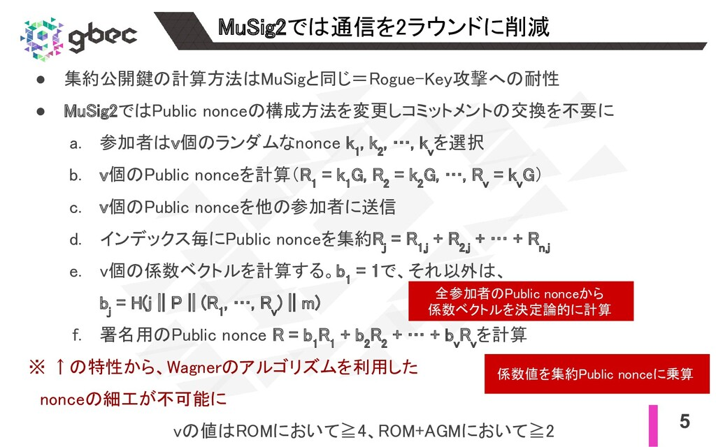 5 MuSig2では通信を2ラウンドに削減 ● 集約公開鍵の計算方法はMuSigと同じ=Ro...