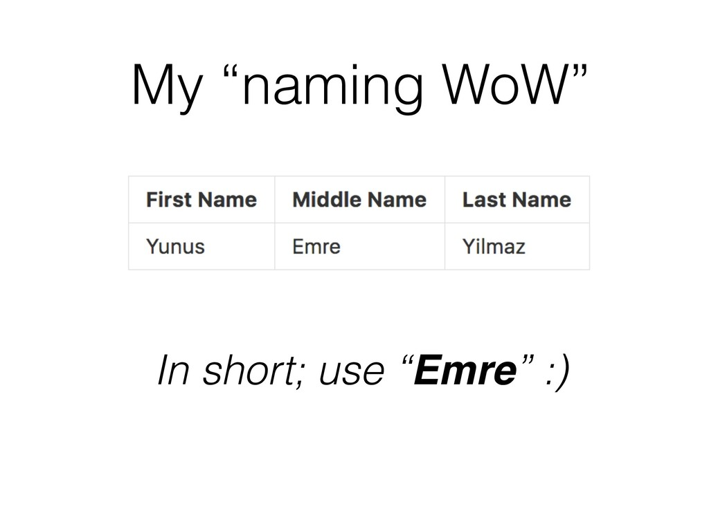 """My """"naming WoW"""" In short; use """"Emre"""" :)"""