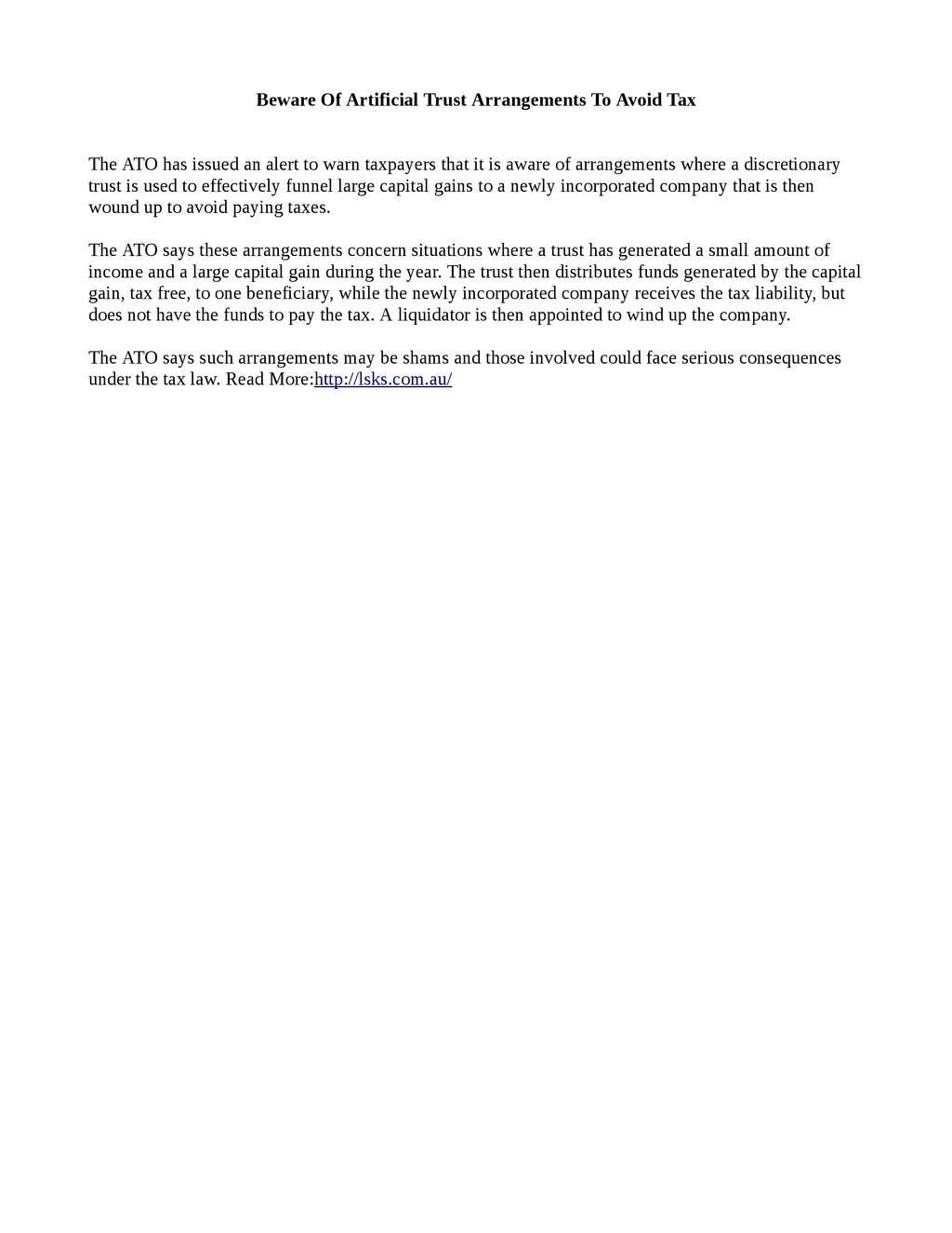Beware Of Artificial Trust Arrangements To Avoi...