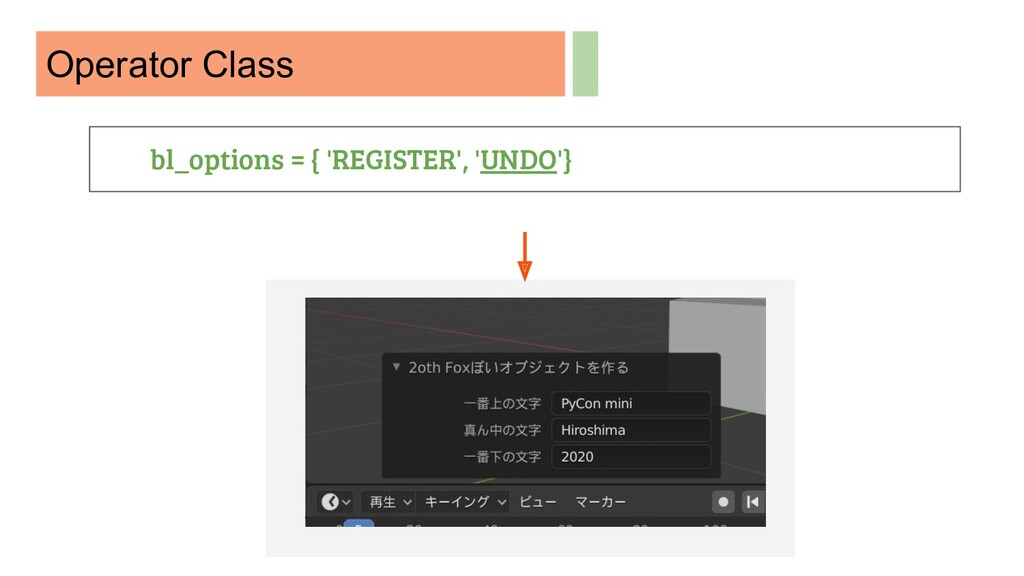 Operator Class bl_options = { 'REGISTER', 'UNDO...