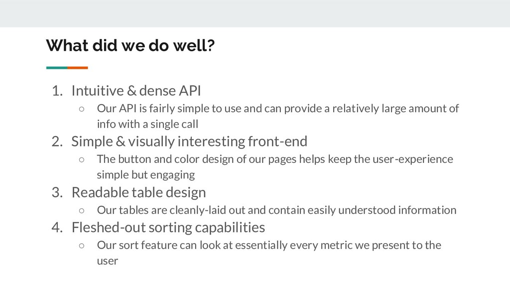 What did we do well? 1. Intuitive & dense API ○...
