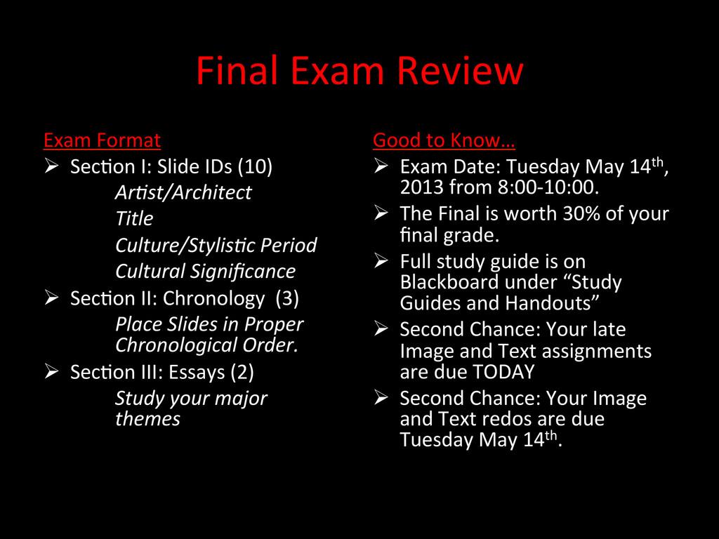 Final Exam Review  Exam Format  ...