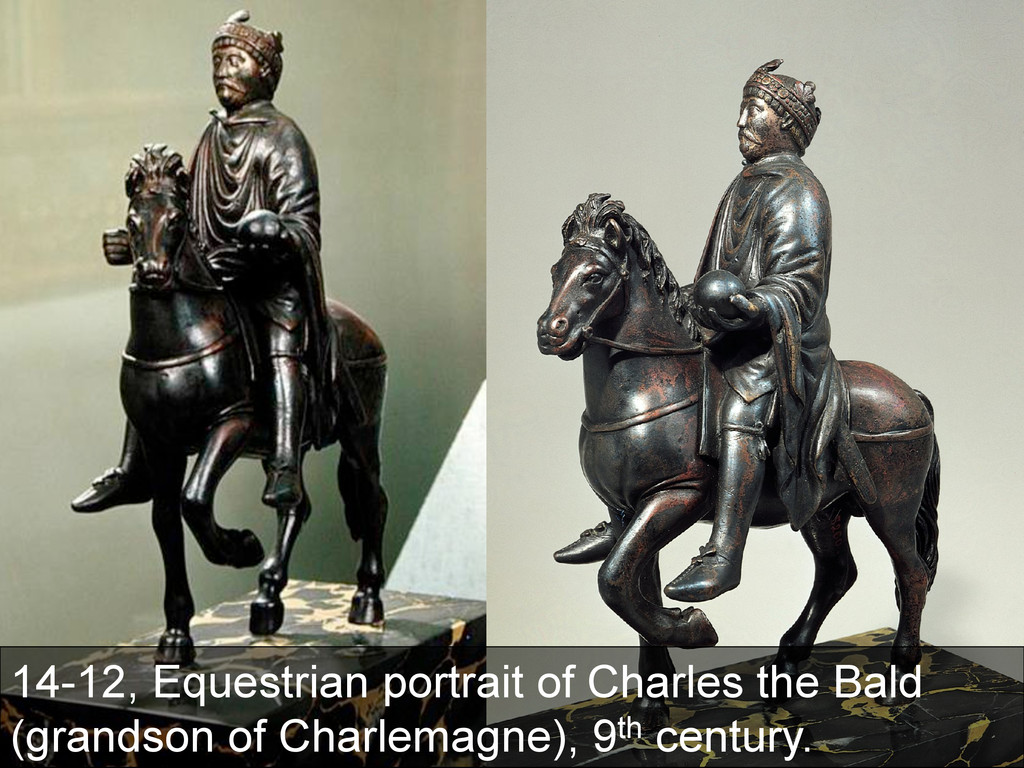 14-12, Equestrian portrait of Charles the Bald ...