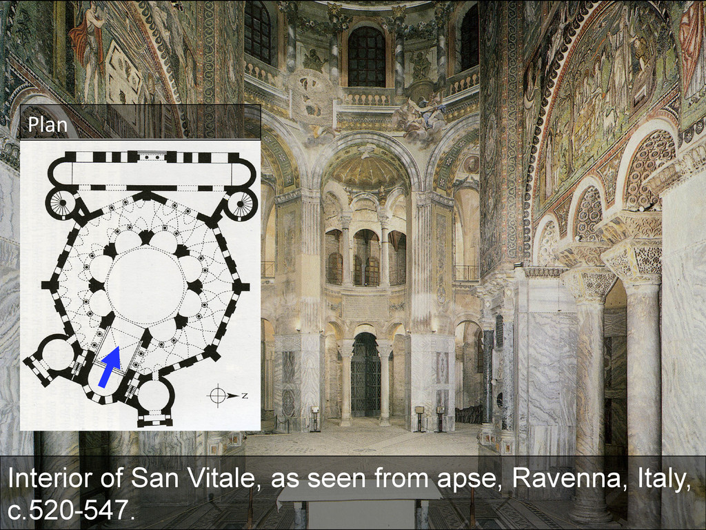 Interior of San Vitale, as seen from apse, Rave...